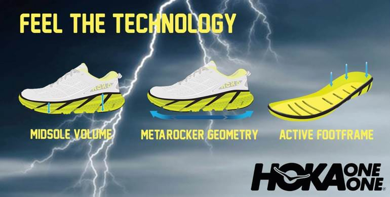Feel the technology. Midsole Volume. Metarocker Geometry. Active Footframe. Hoka One One