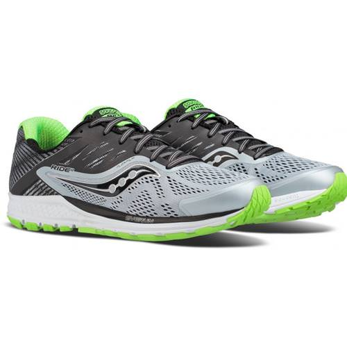 Saucony Ride 10 Men's Running Wide EE Grey Black Slime S20374-1