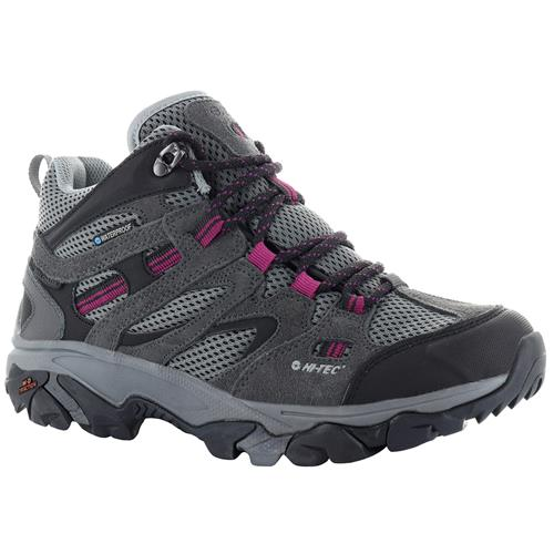 Hi-Tec Ravus Vent Mid Women's Waterproof Hiking Boots Charcoal Cool Grey Amaranth 24126