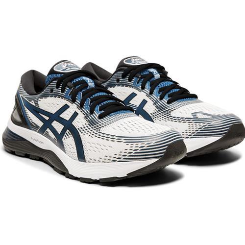 Asics Gel Nimbus 21 Men's Running Shoe White Deep Sapphire 1011A169 100