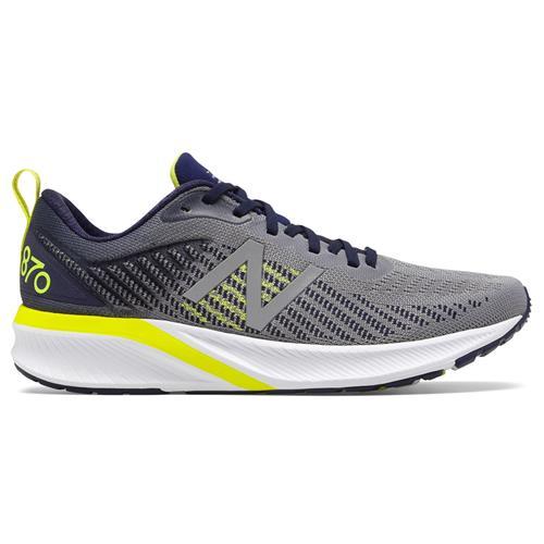 New Balance 870v5 Men's Wide EE Running Shoe Gunmetal Pigment Sulphur Yellow M870GY5EE