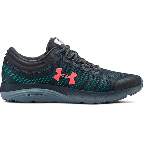 Under Armour Charged Bandit 5 Mens Running Shoe in Wire Ash Grey Beta Red 3021947-403