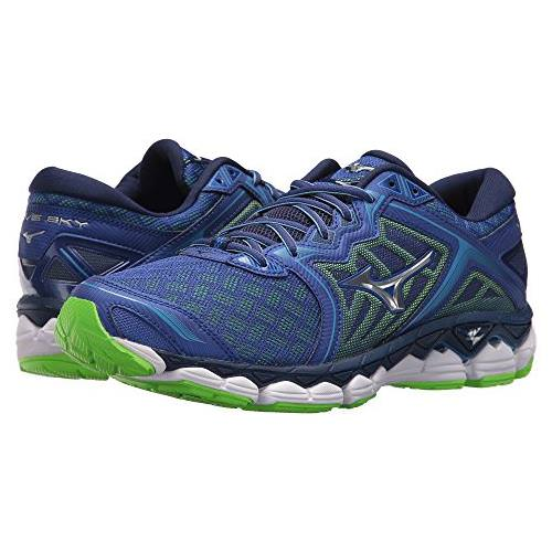 Mizuno Wave Sky Men's Running Surf The Web Silver Green Gecko 410942.5E73