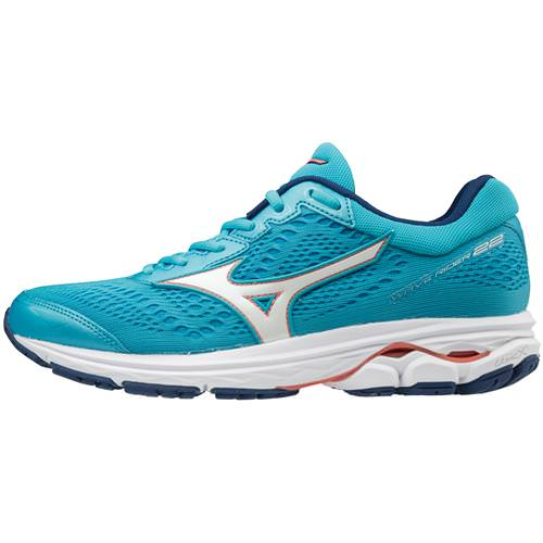 Mizuno Wave Rider 22 Women's Wide D Blue Atoll, Georgia Peach 410998.5Z17