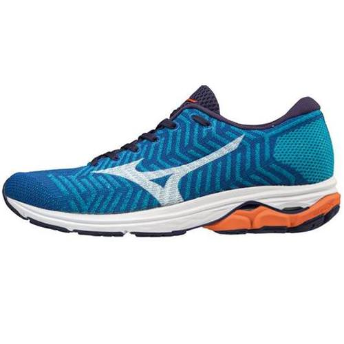 Mizuno WAVEKNIT R2 Men's Running Nautical Blue, Red Orange 411002.NB1W