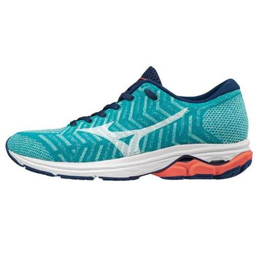 Mizuno WAVEKNIT R2 Women's Running Peacock Blue, Fiery Coral 411003.5C1Z