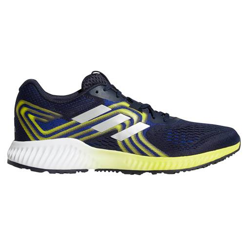 Adidas Aerobounce 2 Men's Running Mystery Ink, Silver Metallic, Shock Yellow AQ0534
