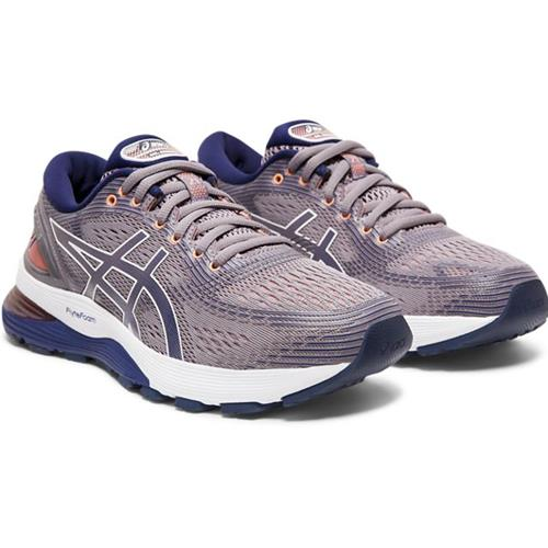 Asics Gel Nimbus 21 Women's Running Shoe Lavender Grey, Dive Blue 1012A156 500