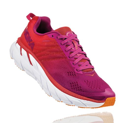 Hoka One One Clifton 6 Women's Poppy Red, Cactus Flower 1102873 PRCFL