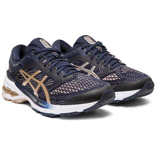 Asics Gel Kayano 26 Women's Wide D Running Shoe Midnight, Frosted Almond 1012A459 400