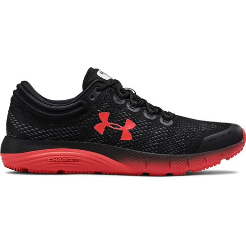 Under Armour Charged Bandit 5 Mens Running Shoe in Black, Martian Red 3021947-003