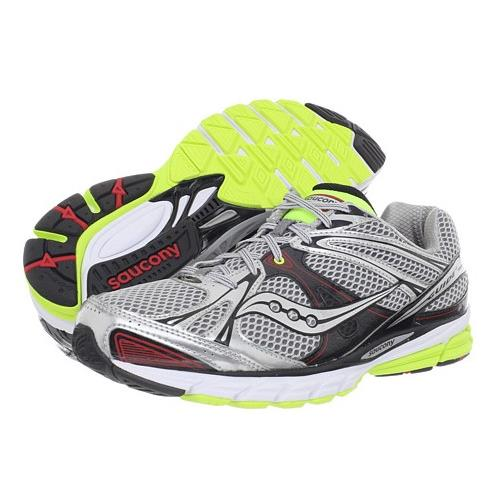 Saucony ProGrid Guide 6 Men's Running Shoe Wide 4E Silver, Red, Citron 20181-2