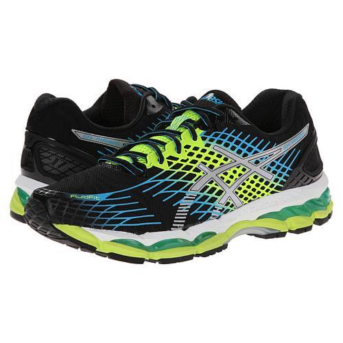Asics Gel Nimbus 17 Mens Running Shoe Onyx, White, Flash Yellow T507N 9901