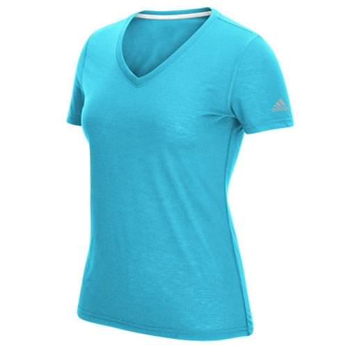 Adidas Women's Ultimate Short Sleeve V-Neck Bright Cyan T-Shirt 4776-BYN
