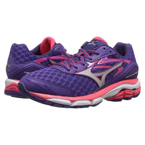 Mizuno Wave Inspire 12 Women's Running Shoes Wide D Royal Purple, Silver, Diva Pink 410747.7X73