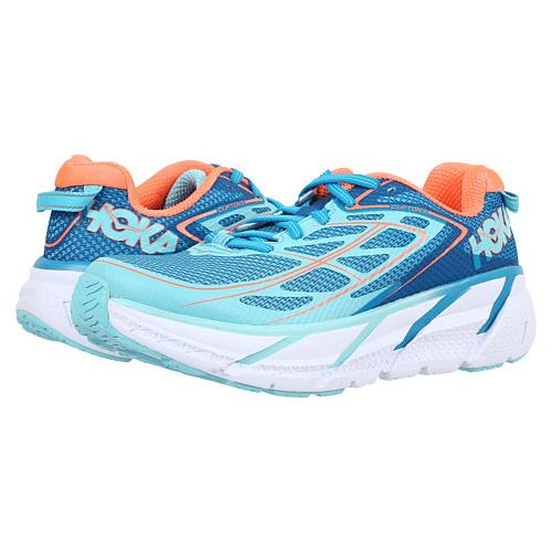 Hoka One One Clifton 3 Women's Blue Jewel, Neon Coral 1012045 BJNC