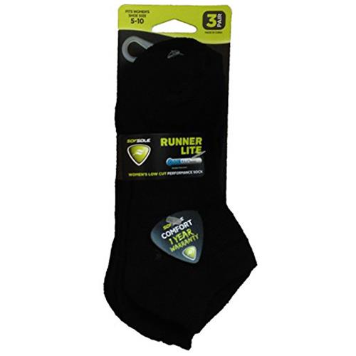 Sof Sole® Coolmax® Women's Runner Black Low-Cut Socks 3-Pack 85171