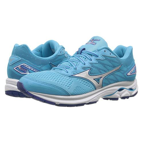 Mizuno Wave Rider 20 Women's Running Blue Atoll, Silver, White 410867.5Z73