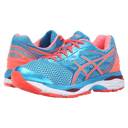 Asics GEL-Cumulus 18 Women's Wide D Running Aquarium, Flash Coral, Blue Jewel T6C9N 3906
