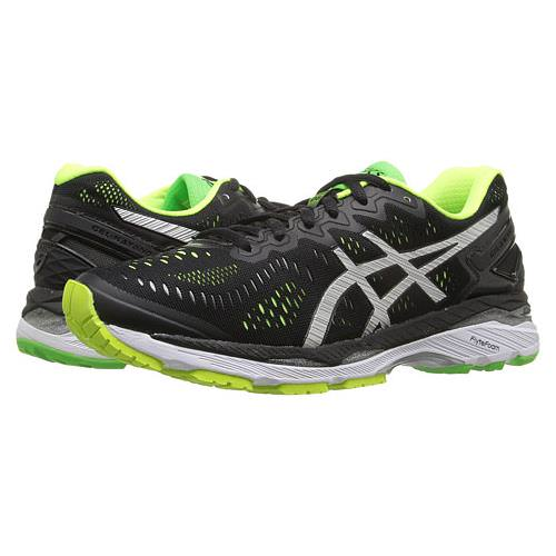 Asics Gel Kayano 23 Men's Running Shoe Black, Silver, Safety Yellow T646N 9093