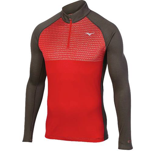 Mizuno Breath Thermo Men's Double Knit Half-Zip Chinese Red, Dark Shadow 421465.1F98