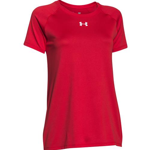 Under Armour Women's Locker Tee Short Sleeve Red, White 1268481-600