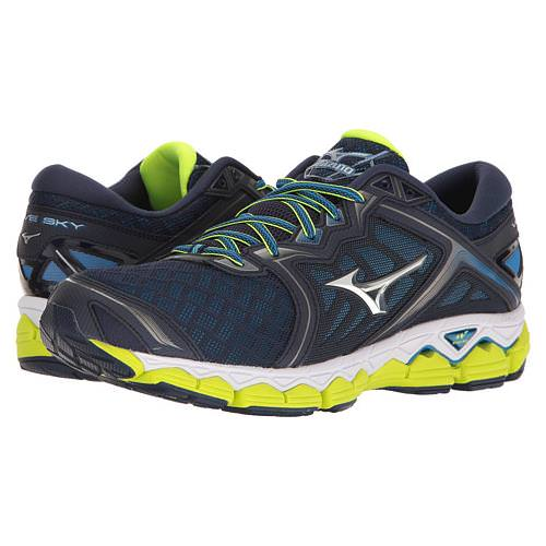 Mizuno Wave Sky Men's Running Peacoat, Silver, Safety Yellow 410942.5873