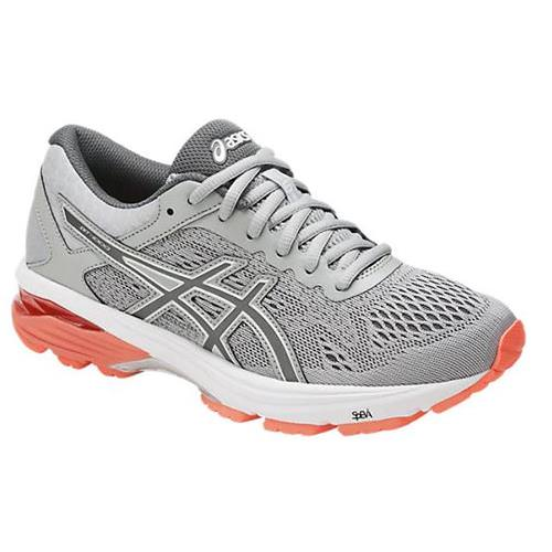 Asics GT-1000 6 Women's Running Shoe Wide D Mid Grey, Carbon, Flash Coral T7B5N 9697