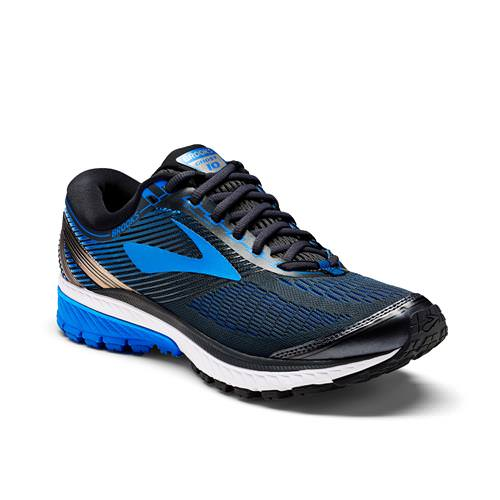 Brooks Ghost 10 Men's Running Wide EE Ebony, Metallic Charcoal, Electric Brooks Blue 1102572E056