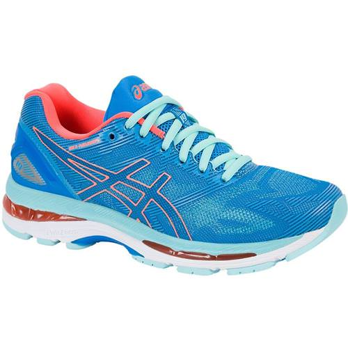 Asics Gel Nimbus 19 Women's Running Shoe Diva Blue,Flash Coral, Aqua Splash T750N 4306