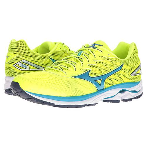 Mizuno Wave Rider 20 Men's Running Safety Yellow, Atomic Blue, Blue Depths 410865.3050