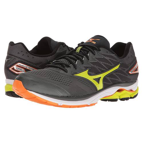 Mizuno Wave Rider 20 Men's Running Dark Shadow, Lime Punch, Vibrant Orange 410865.984I
