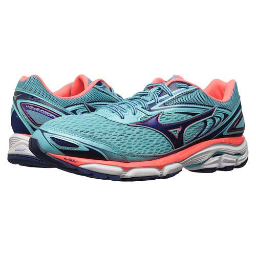 Mizuno Wave Inspire 13 Women's Running Shoes Blue Radiance, Blueprint, Fiery Coral 410877 5H5D