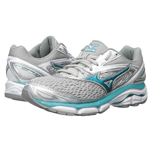 Mizuno Wave Inspire 13 Women's Running Shoe Silver, Tile Blue, Griffin 410877 7359