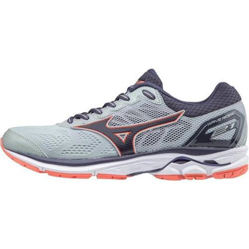 Mizuno Wave Rider 21 Women's Wide D High-Rise, Graystone, Persimmon 410976 9K9L