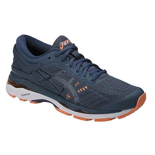 Asics Gel Kayano 24 Women's Running Shoe Wide D Smoke Blue, Dark Blue, Cantaloupe T7A5N 5649