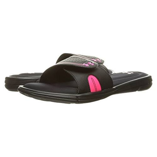 Under Armour Women's Ignite VIII Slides in Black, Cerise 1287319-006