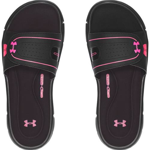 cf2ea604 Under Armour Women's Ignite VIII Slides in Black, Cerise 1287319-006.  Additional Photos (click to enlarge):