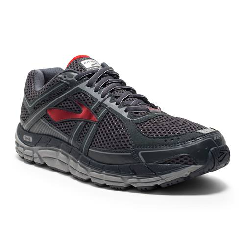 Brooks Addiction 12 Men's Running Wide 2E Anthracite, High Risk Red, Silver 1101962E095