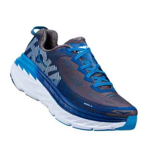 Hoka One One Bondi 5 Men's Wide EE Charcoal Gray, True Blue 1016604 CGTB